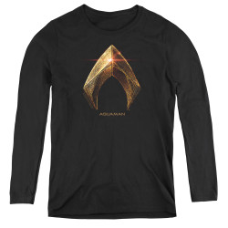 Image for Justice League Movie Women's Long Sleeve T-Shirt - Aquaman Logo