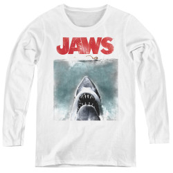 Image for Jaws Women's Long Sleeve T-Shirt - Vintage Poster