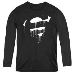 Image for Superman Women's Long Sleeve T-Shirt - Dripping Shield
