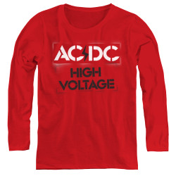 Image for AC/DC Women's Long Sleeve T-Shirt - High Voltage Stencil
