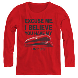 Image for Office Space Women's Long Sleeve T-Shirt - Excuse Me, I Believe You Have My Stapler
