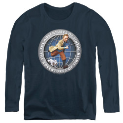 Image for The Adventures of Tintin Women's Long Sleeve T-Shirt - Globe