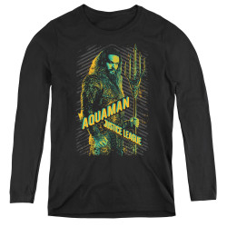 Image for Justice League Movie Women's Long Sleeve T-Shirt - Aquaman
