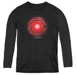 Image for Justice League Movie Women's Long Sleeve T-Shirt - Cyborg Logo