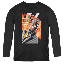 Image for Power Rangers Women's Long Sleeve T-Shirt - Black Ranger Deco