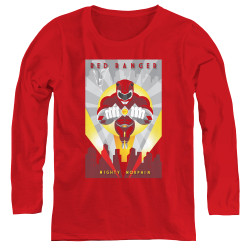 Image for Power Rangers Women's Long Sleeve T-Shirt - Red Ranger Deco