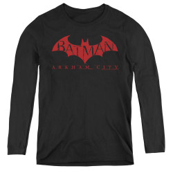 Image for Arkham City Women's Long Sleeve T-Shirt - Red Bat
