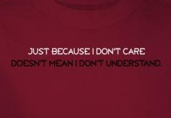 Image Closeup for Just Because I Don't Care Doesn't Mean I Don't Understand T-Shirt