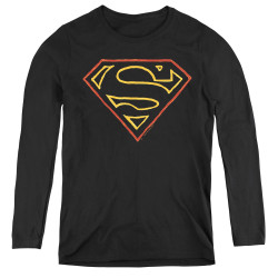 Image for Superman Women's Long Sleeve T-Shirt - Colored Shield