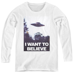 Image for The X-Files Women's Long Sleeve T-Shirt - Believe Poster