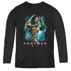 Image for Aquaman Movie Women's Long Sleeve T-Shirt - Trident