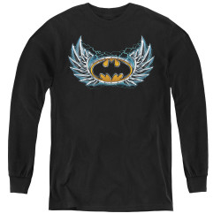 Image for Batman Youth Long Sleeve T-Shirt - Steel Wings Logo