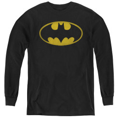 Image for Batman Youth Long Sleeve T-Shirt - Washed Bat Logo