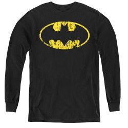 Image for Batman Youth Long Sleeve T-Shirt - Classic Logo Distressed