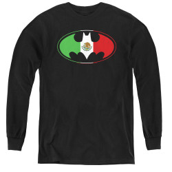 Image for Batman Youth Long Sleeve T-Shirt - Mexican Flag Logo