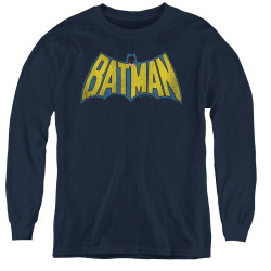 Image for Batman Youth Long Sleeve T-Shirt - Retro Logo