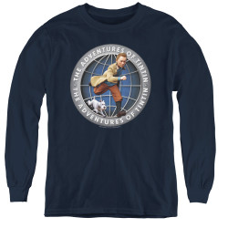 Image for The Adventures of Tintin Youth Long Sleeve T-Shirt - Globe