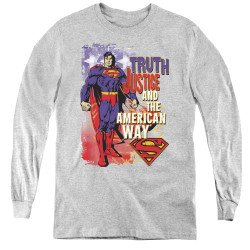 Image for Superman Youth Long Sleeve T-Shirt - Truth, Justice, and the American Way