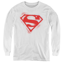 Image for Superman Youth Long Sleeve T-Shirt - Spray Paint Shield Logo
