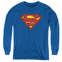 Image for Superman Youth Long Sleeve T-Shirt - Action S Shield Logo