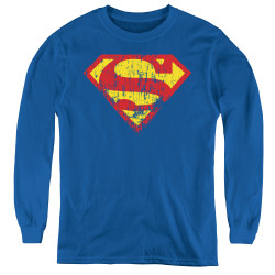 Image for Superman Youth Long Sleeve T-Shirt - Classic Logo Distressed