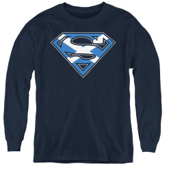 Image for Superman Youth Long Sleeve T-Shirt - Scottish Flag Shield