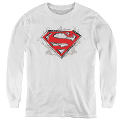 Image for Superman Youth Long Sleeve T-Shirt - Hastily Drawn Shield Logo