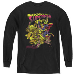 Image for Superman Youth Long Sleeve T-Shirt - Versus Metallo Blacklight