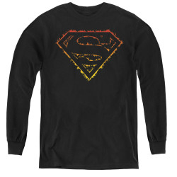 Image for Superman Youth Long Sleeve T-Shirt - Flame Outlined Logo