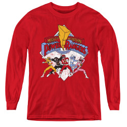 Image for Power Rangers Youth Long Sleeve T-Shirt - Retro Rangers