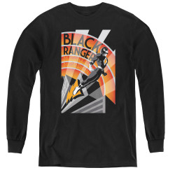 Image for Power Rangers Youth Long Sleeve T-Shirt - Black Ranger Deco