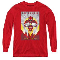 Image for Power Rangers Youth Long Sleeve T-Shirt - Red Ranger Deco