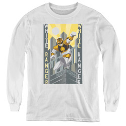 Image for Power Rangers Youth Long Sleeve T-Shirt - White Ranger Deco