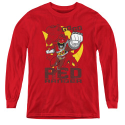 Image for Power Rangers Dino Charge Youth Long Sleeve T-Shirt - Go Red