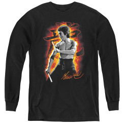 Image for Bruce Lee Youth Long Sleeve T-Shirt - Dragon Fire
