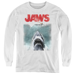 Image for Jaws Youth Long Sleeve T-Shirt - Vintage Poster