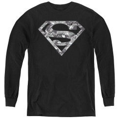 Image for Superman Youth Long Sleeve T-Shirt - Urban Camo Shield