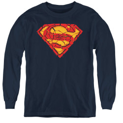 Image for Superman Youth Long Sleeve T-Shirt - Shattered Shield