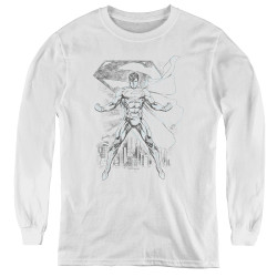 Image for Superman Youth Long Sleeve T-Shirt - Super Sketch