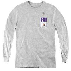 Image for X-Files Youth Long Sleeve T-Shirt - Skully Badge