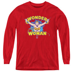 Image for Wonder Woman Youth Long Sleeve T-Shirt - Flying Through