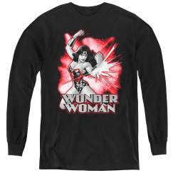 Image for Wonder Woman Youth Long Sleeve T-Shirt - Red and Grey