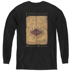 Image for Harry Potter Youth Long Sleeve T-Shirt - Maruader's Map Words