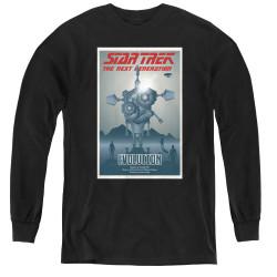 Image for Star Trek the Next Generation Juan Ortiz Episode Poster Youth Long Sleeve T-Shirt - Season 3 Ep. 1 Evolution on Black