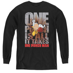 Image for One Punch Man Youth Long Sleeve T-Shirt - One Punch is All it Takes