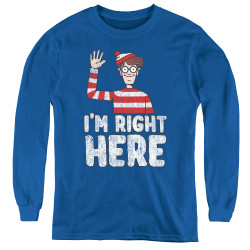Image for Where's Waldo Youth Long Sleeve T-Shirt - I'm Right Here
