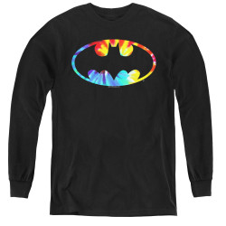 Image for Batman Youth Long Sleeve T-Shirt - Tie Dye Logo