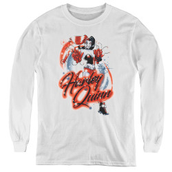 Image for Batman Youth Long Sleeve T-Shirt - Harley Airbrush