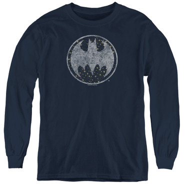 Image for Batman Youth Long Sleeve T-Shirt - Starry Night Shield