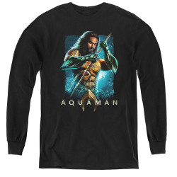 Image for Aquaman Movie Youth Long Sleeve T-Shirt - Trident